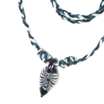 BLACK CORD NECKLACE WITH DROP PENDANT. 