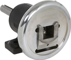 "PIW35-004: Safety Chuck with Shaft, Foot Mounted, 1-1/2"" square 1.375""/1.374"" Dia. Mounting Shaft 4.5"" Long with 5/16"" Wide x 5/32"" Deep x Full Length Keyway"