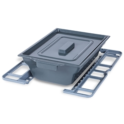 Square removable pan and holder for the Bathmobile Folding Commode & Shower Chair
