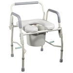 Drop-Arm Commode with Padded Seat