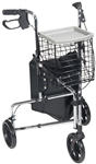 "Deluxe 3 Wheel Steel Rollator, 7.5"" Casters with Loop Locks"