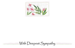 """With Deepest Sympathy"" : Pink flowers and wavy lines(Pack of 50 enclosure cards)"