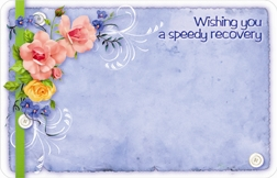 """Wishing you a speedy recovery"" : Blue w/ mixed flowers (Pack of 50 enclosure cards)"