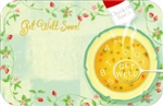 """Get Well Soon"" : Alphabet soup w/ floral border (Pack of 50 enclosure cards)"