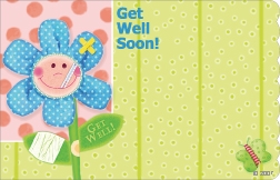 """Get Well Soon"" : Green spotted w/ bandaged flower (Pack of 50 enclosure cards)"