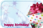 """Happy Birthday"" : Silver present w/ blue dash border (Pack of 50 enclosure cards)"