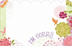 """I'm Sorry"" White space/simple flowers (Pack of 50 enclosure cards)"