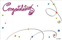 """Congratulations"" : White w/ swirls & dots (Pack of 50 enclosure cards)"