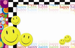 """Happy"" : Smiley face with rainbow text bckgrnd (Pack of 50 enclosure cards)"