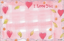 """I Love You"" : Pink with hearts and leaves (Pack of 50 enclosure cards)"