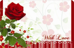 """With Love"" : Red rose with scalloped border (Pack of 50 enclosure cards)"