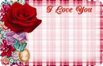 """I Love You"" : Pink plaid with pink scrapbook rose (Pack of 50 enclosure cards)"