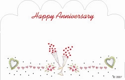 """Happy Anniversary"" : White w/ champagne & hearts (Pack of 50 enclosure cards)"