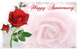 """Happy Anniversary"" : Red rose (Pack of 50 enclosure cards)"