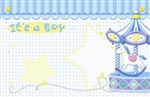 """It's a Boy"" : Blue with merry-go-round(Pack of 50 enclosure cards)"