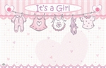 """It's a Girl"" : Pink with clothesline(Pack of 50 enclosure cards)"