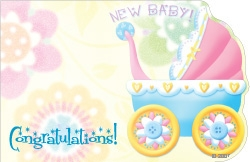 """Congratulations New Baby"" : Carriage w/ flowers bckrnd (Pack of 50 enclosure cards)"