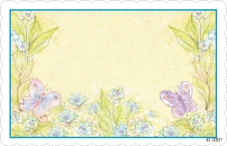 Yellow with purple butterflies & turquoise border (Pack of 50 enclosure cards)