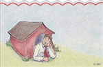 Drawn man in doghouse (Pack of 50 enclosure cards)