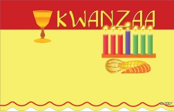 Kwanzaa red & yellow motif (Pack of 50 enclosure cards)