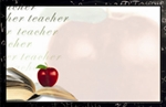 """Teacher"" : White with chalkboard border, book, & apple (Pack of 50 enclosure cards)"