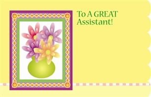 """To a Great Assistant"" : Flowers in vase (Pack of 50 enclosure cards)"
