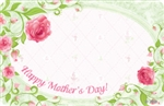 """Happy Mother's Day"" : White w/ pink roses & vine border (Pack of 50 enclosure cards) (Pack of 50 enclosure cards)"