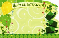 """Happy St. Patrick's Day"" : Green w/ hats & balloon (Pack of 50 enclosure cards)"