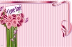 """I Love You"" : Tall pink roses w/ ribbon border (Pack of 50 enclosure cards)"