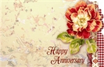 """Happy Anniversary"" : Red garden rose w/ gingham (Pack of 50 enclosure cards)"