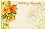 """With Deepest Sympathy"" : Orange lilies (Pack of 50 enclosure cards)"