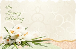 """In Loving Memory"" : White tulip/lace bckgrnd (Pack of 50 enclosure cards)"