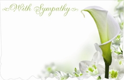"""With Sympathy"" Calla green bckgrnd (Pack of 50 enclosure cards)"