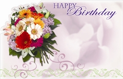 """Happy Birthday"" : Purple with mixed bouquet (Pack of 50 enclosure cards)"