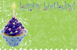 """Happy Birthday"" : Blue cupcake green bckgrnd (Pack of 50 enclosure cards)"