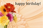 """Happy Birthday"" : Orange gerbera close up (Pack of 50 enclosure cards)"