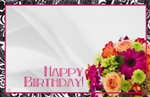 """Happy Birthday"" : Black border/bouquet (Pack of 50 enclosure cards)"