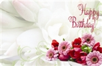"""Happy Birthday"" : Roses/Gerbera white bckgrnd (Pack of 50 enclosure cards)"