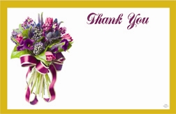 """Thank You"" : Purple bouquet/Gold border (Pack of 50 enclosure cards)"