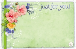 """Just For You"" : Green with mixed flowers (Pack of 50 enclosure cards)"