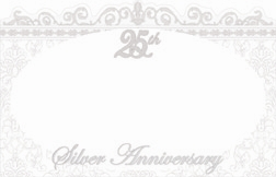 """25th Silver Anniversary"" : White oval w/ silver border (Pack of 50 enclosure cards)"
