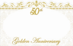 """50th Golden Anniversary"" : White oval w/ gold border (Pack of 50 enclosure cards)"
