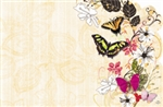 Flowers, butterflies, yellow lace (Pack of 50 enclosure cards)