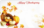 """Happy Thanksgiving"" : Cornucopia with fall elements (Pack of 50 enclosure cards)"