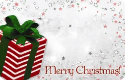 """Merry Christmas"" : Red and green present (Pack of 50 enclosure cards)"