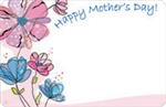 """Happy Mother's Day"" : Pen and ink red/blue flowers (Pack of 50 enclosure cards)"