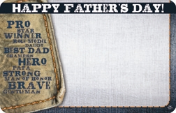 """Happy Father's Day"" : Blue jean patch (Pack of 50 enclosure cards)"