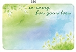 """Sorry for your loss"" watercolor leaves grn/blue (Pack of 50 enclosure cards)"