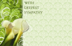 """With Deepest Sympathy"" Calla lilies w/grn bckrnd (Pack of 50 enclosure cards)"