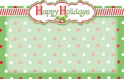 """Happy Holiday's"" : Green bckgrnd with dots (Pack of 50 enclosure cards)"